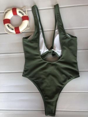 Plain One-piece Knot Keyhole Swimwears_15