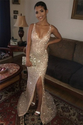 Sexy Sequins Straps V-Neck Side Slit Sexy Mermaid Evening Gownes_1