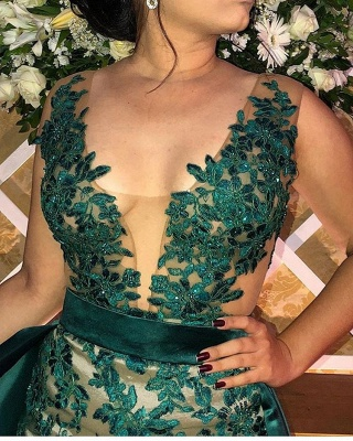 Green Straps Appliques Side Slit A-Line Prom Dress_2
