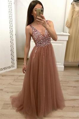 Straps V-Neck Appliques A-Line Prom Dresses_1
