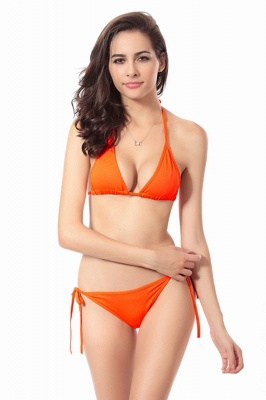 Simple Halter Triangle Pads Two-piece Bikini Sets_6
