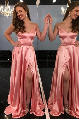 Pink Spaghetti-Straps Side Slit A-Line Prom Dresses_1