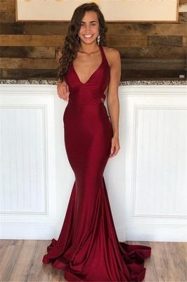 Burgundy Halter V-Neck Backless Sexy Mermaid Prom Dresses_1