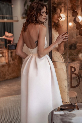 Newest Spaghetti-Straps A-Line Backless Prom Dresses_2