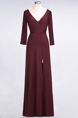 A-Line V-Neck Long-Sleeves Side-Slit Floor-Length Spandex Bridesmaid Dress with Ruffles_9
