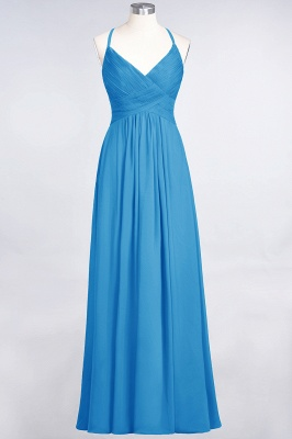 A-Line Spaghetti-Straps V-Neck Sleeveless Floor-Length  Bridesmaid Dress with Ruffles_24