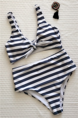 Stripes Vintage Style Two-piece Scoop Swimwear Suits_2