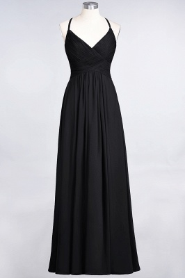 A-Line Spaghetti-Straps V-Neck Sleeveless Floor-Length  Bridesmaid Dress with Ruffles_28