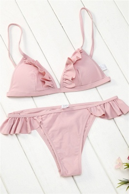 Chic Ruffled Spaghetti Two-piece Bikini Sets_7