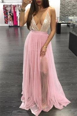 Pink Spaghetti-Strpas Deep V-Neck Backless A-Line Prom Dresses_1
