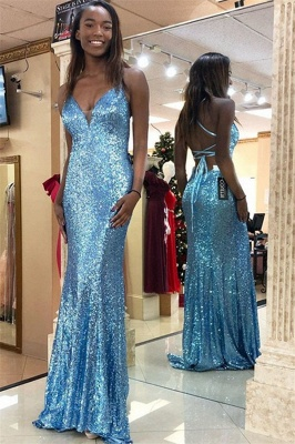 Blue Spaghetti-Strpas Sequins Backless Sexy Mermaid Evening Gownes_1