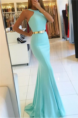 Newly Halter Sexy Mermaid Prom Dresses With Sash_1