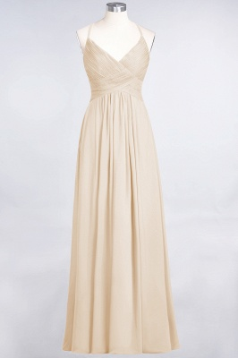 A-Line Spaghetti-Straps V-Neck Sleeveless Floor-Length  Bridesmaid Dress with Ruffles_14