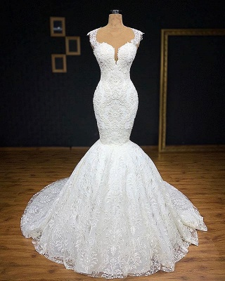 Glamorous Straps Appliques Backless Sexy Mermaid Bridal Gown_4