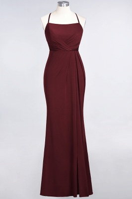 Mermaid Spaghetti-Straps Sleeveless Floor-Length spandex Lace Bridesmaid Dress with Ruffle_9
