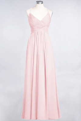 A-Line Spaghetti-Straps V-Neck Sleeveless Floor-Length  Bridesmaid Dress with Ruffles_3