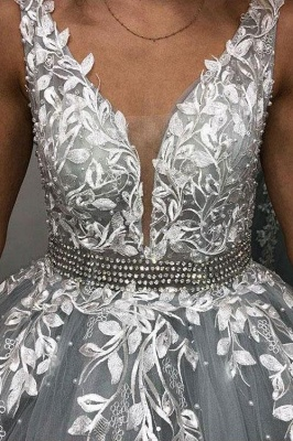 Elegant Crystal Apppliques Simple Ball Gown Prom Dresses | A-Line Sleeveless Backless Evening Dresses_3