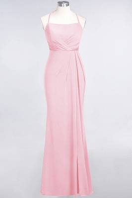 Mermaid Spaghetti-Straps Sleeveless Floor-Length spandex Lace Bridesmaid Dress with Ruffle_4
