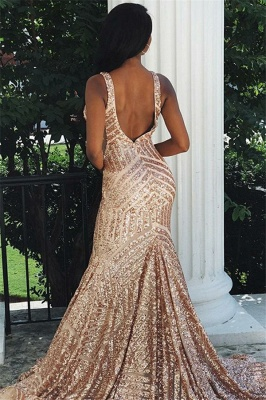 Sexy Straps V-Neck Sequins Sexy Mermaid Prom Dresses_2