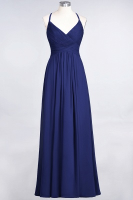 A-Line Spaghetti-Straps V-Neck Sleeveless Floor-Length  Bridesmaid Dress with Ruffles_25