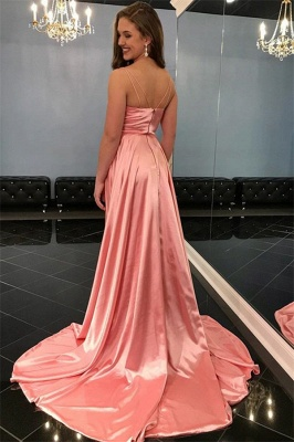Pink Spaghetti-Straps Side Slit A-Line Prom Dresses_2