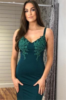Glamorous Straps Appliques V-Neck Sexy Mermaid Prom Dresses_3