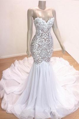 Gorgeous Applique Spaghetti-Straps Sexy Mermaid Prom Dress_1