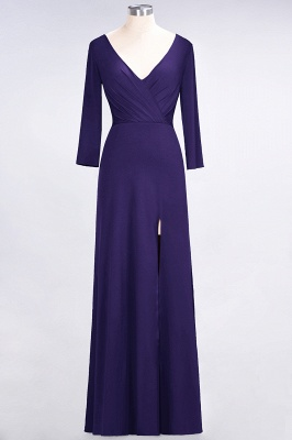 A-Line V-Neck Long-Sleeves Side-Slit Floor-Length Spandex Bridesmaid Dress with Ruffles_17