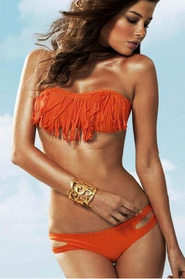 Tasseled Strapless High Waist Two-piece Bikini Sets_18