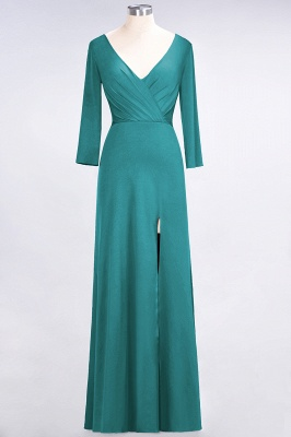 A-Line V-Neck Long-Sleeves Side-Slit Floor-Length Spandex Bridesmaid Dress with Ruffles_28