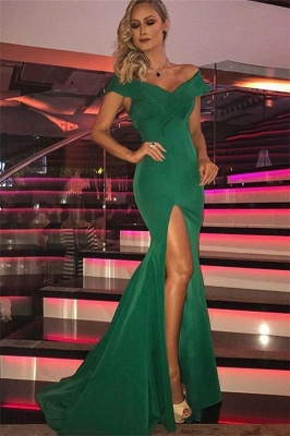 Green Off-The-Shoulder Side Slit Sexy Mermaid Evening Gownes_1