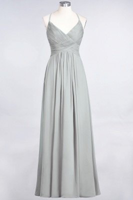 A-Line Spaghetti-Straps V-Neck Sleeveless Floor-Length  Bridesmaid Dress with Ruffles_29