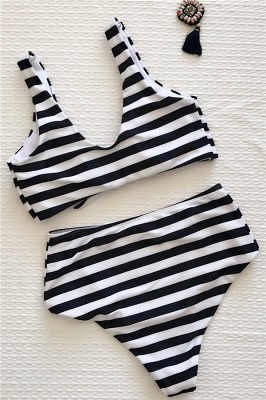Stripes Vintage Style Two-piece Scoop Swimwear Suits_7