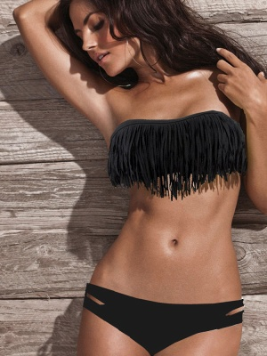 Tasseled Strapless High Waist Two-piece Bikini Sets_7