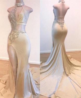 Crystal Halter Side Slit Prom Dresses | A-Line Backless Sleeveless Evening Dresses_1
