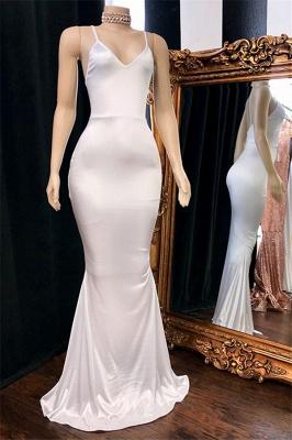 Gorgeous Spaghetti-Straps V-Neck Sleevless Sexy Mermaid Prom Dresses_1