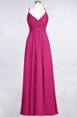 A-Line Spaghetti-Straps V-Neck Sleeveless Floor-Length  Bridesmaid Dress with Ruffles_9