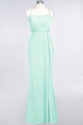 Mermaid Spaghetti-Straps Sleeveless Floor-Length spandex Lace Bridesmaid Dress with Ruffle_30