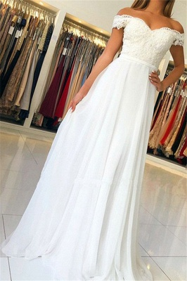 Elegant Off-The-Shoulder Appliques A-Line Wedding Dresses_1