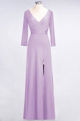 A-Line V-Neck Long-Sleeves Side-Slit Floor-Length Spandex Bridesmaid Dress with Ruffles_18