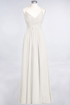 A-Line Spaghetti-Straps V-Neck Sleeveless Floor-Length  Bridesmaid Dress with Ruffles_2