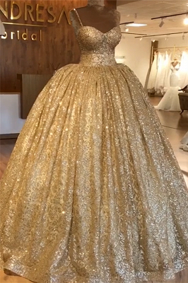 Spaghetti Straps Gold Beaded Lace Evening Dress | Luxury Ball Gown Princess Open Back Prom Dress_4