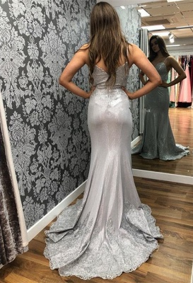 Spaghetti-Straps Applique  Sexy Mermaid Prom Dresses_2