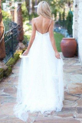 Elegant Spaghetti-Strpas Tulle A-Line Wedding Dresses_2