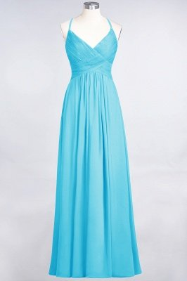 A-Line Spaghetti-Straps V-Neck Sleeveless Floor-Length  Bridesmaid Dress with Ruffles_23