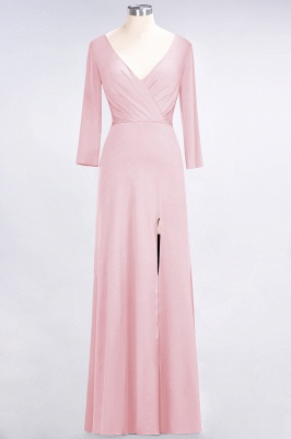 A-Line V-Neck Long-Sleeves Side-Slit Floor-Length Spandex Bridesmaid Dress with Ruffles_4
