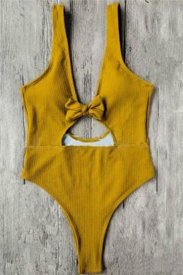 Plain One-piece Knot Keyhole Swimwears_4