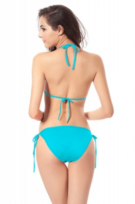 Simple Halter Triangle Pads Two-piece Bikini Sets_27