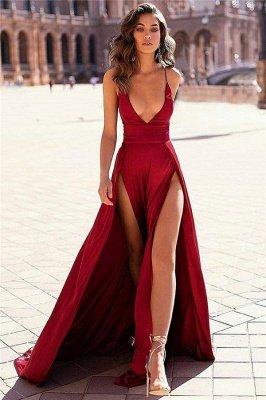 Sexy Burgundy Spaghetti-Straps Side Slit A-Line Prom Dresses_1