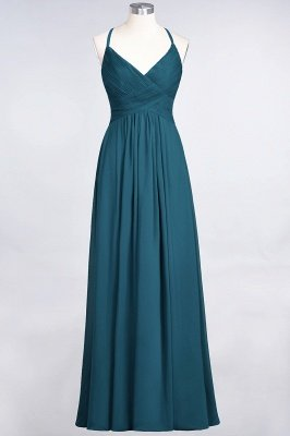 A-Line Spaghetti-Straps V-Neck Sleeveless Floor-Length  Bridesmaid Dress with Ruffles_26